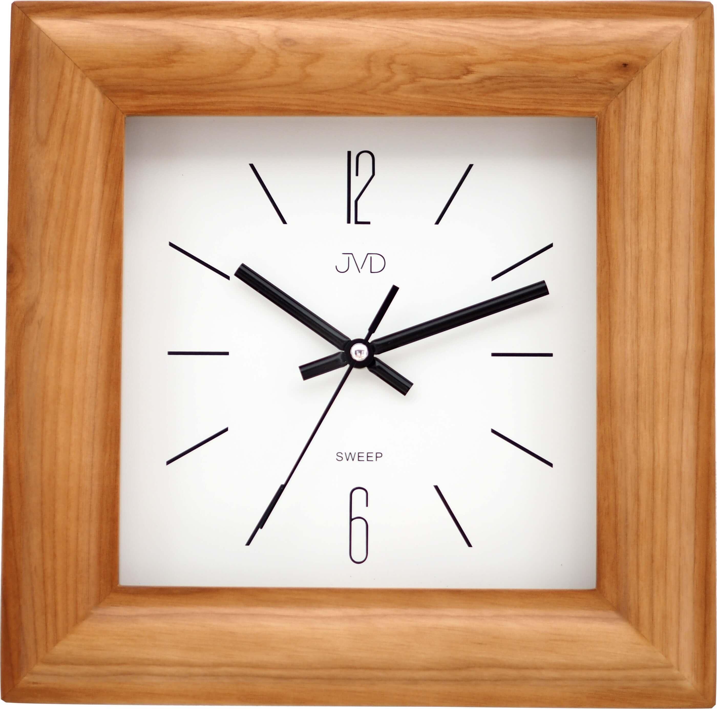 Dřevěné netickající tiché nástěnné hranaté hodiny JVD NS20183/11 ( )