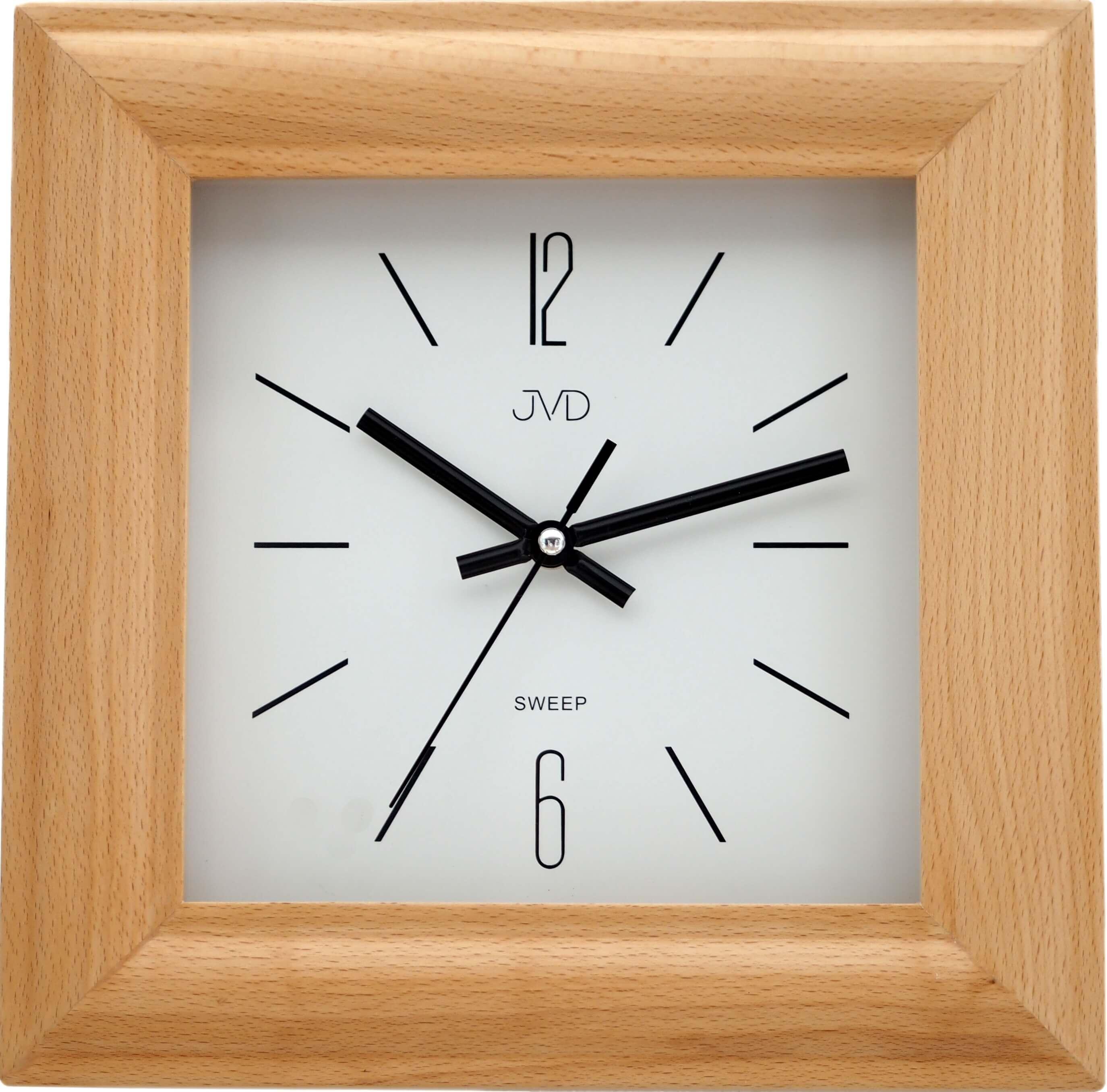 Dřevěné netickající tiché nástěnné hranaté hodiny JVD NS20183/68 ( )