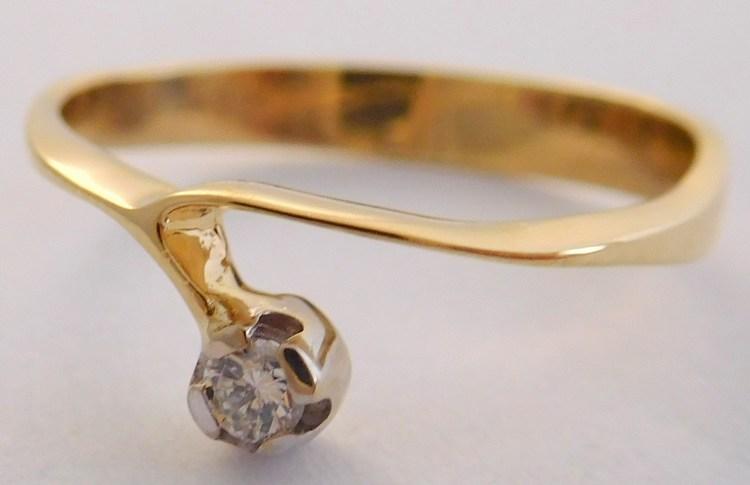 Zásnubní zlatý diamantový prsten s diamantem vel. 60 585/1,94gr 17-01 203 (17-01 203 - POŠTOVNÉ ZDARMA!!! SKLADEM IHNED ODESÍLÁME!!)