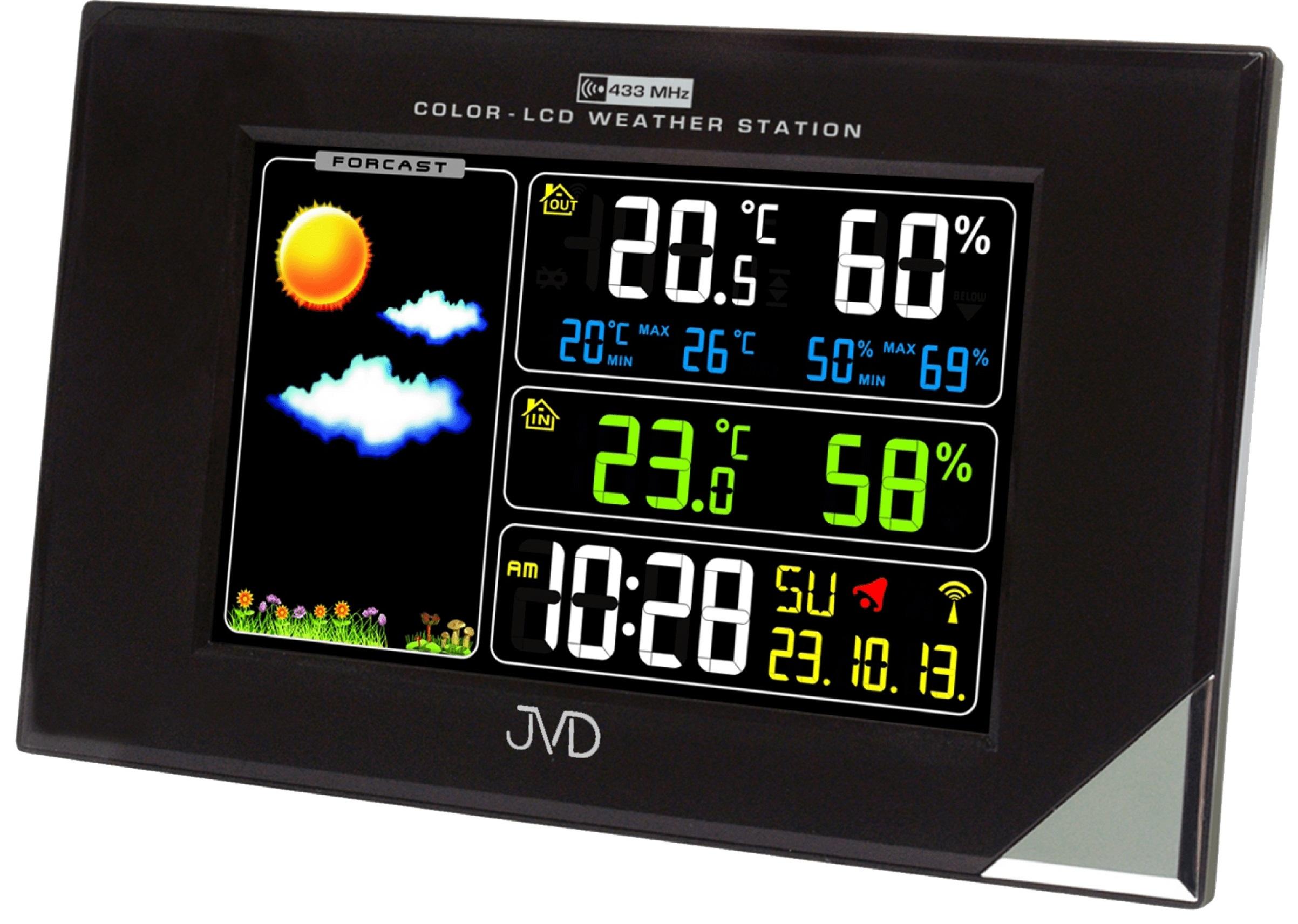 Barevná rádiem řízená meteorologická stanice JVD černá RB9197.1