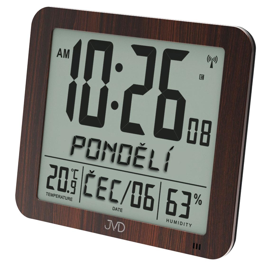 Velké rádiem řízené digitální hodiny s budíkem JVD hnědé DH9335.2 (POŠTOVNÉ ZDARMA!! s češtinou!!)