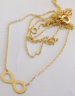 8f74db715 Zlatá souprava řetízek s přívěskem - symbol nekonečna 585/1,09gr 42-45cm