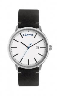 Černé pánské hodinky LAVVU COPENHAGEN CITY s koženým páskem LWM0031 dbe49f019e