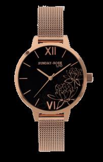 Dámské luxusní designové černé hodinky SUNDAY ROSE Black Lotus SUN-F06 7369ced2d0