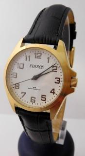 7178e6c23dd Dámské čitelné přehledné ocelové hodinky na koženém pásku Foibos 7139.1