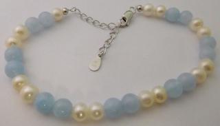 adc478ad31c Dámský perlový stříbrný rhodiovaný náramek s kultivovanými čirými perlami  925 1000 18cm - 23cm 030853600001