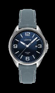 Vodotěsné pánské hodinky se safírovým sklem LAVVU HERNING Blue   Top Grain  Leather LWM0094 d8810417a6