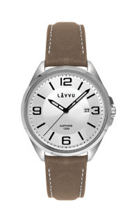 Vodotěsné pánské hodinky se safírovým sklem LAVVU HERNING Silver   Top  Grain Leather LWM0093 2d9f2112d6