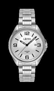 Vodotěsné pánské hodinky se safírovým sklem LAVVU HERNING Silver LWM0090 e5fcd2d2309