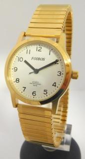 bb6faff9044 Přehledné čitelné zlaté dámské hodinky Foibos 1931.2 s pružným natahovacím  páskem