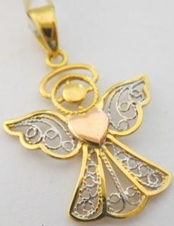 4e1df29b6 Gravírovaný zlatý andělíček ze žlutého, bílého a růžového zlata - přívěsek  585/0,