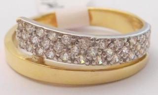 91e369b43 Masivní elegantní dámský zlatý prsten se zirkony z bílého a žlutého zlata  585/2,