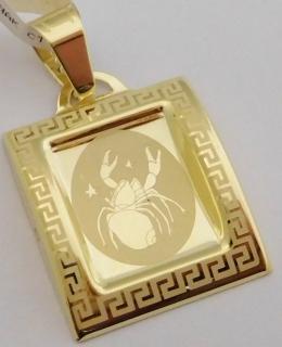 ed74631bc Gravírovaný zlatý přívěsek ze žlutého zlata - znamení RAK 585/0,92gr 1322048