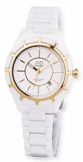 Luxusní bílé společenské keramické zlacené náramkové hodinky JVD ceramic  J6007.3 0112fc2932