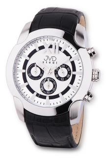 Pánský luxusní chronograf černé vodotěsné hodinky JVD steel C1176.1 bb8955c4de