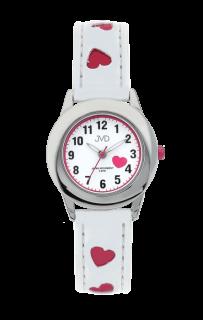 Bílé dětské náramkové hodinky JVD basic J7125.1 s růžovými srdíčky 21a0a1a17c1