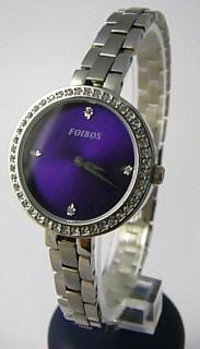 c09e4894589 Dámské šperkové ocelové hodinky Foibos 3B511 s fialovým číselníkem a  zirkony POŠTOVNÉ ZDARMA!