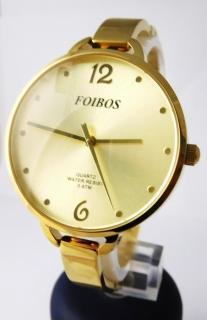 Dámské čitelné velké zlacené hodinky Foibos 26892 s velkým číselníkem 61741cf93d5